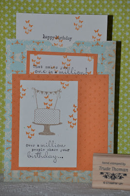 http://stampwithtrude.blogspot.com Stampin' Up! birthday card by Trude Thoman Make a Cake stamp set