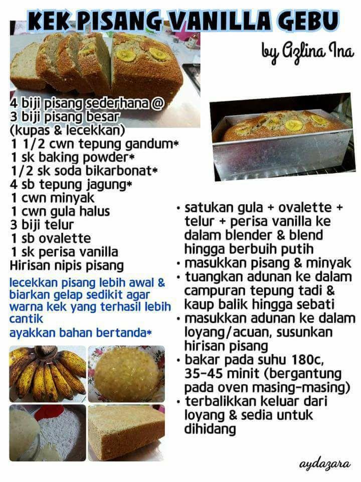 Koleksi Resepi Azlina Ina Untuk Aneka Kek Dan Apam Berasaskan Pisang