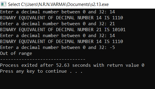 A decimal number between 0 and 32 exclusive can be expressed in