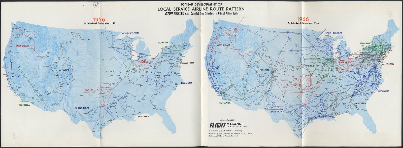 10-Year Development of Local Service Airline Route Pattern in the U.S.