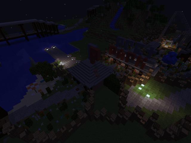 Pretpark bij nacht in het videospel Minecraft