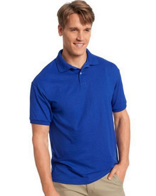 Hanes 054X Mens Comfortblend Jersey Polo - Deep Royal – L