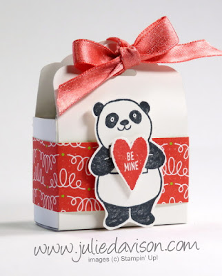 Stampin' Up! 2018 Sale-a-Bration Party Panda Valentine's Day Tag Topper Treat Box VIDEO Tutorial ~ www.juliedavison.com
