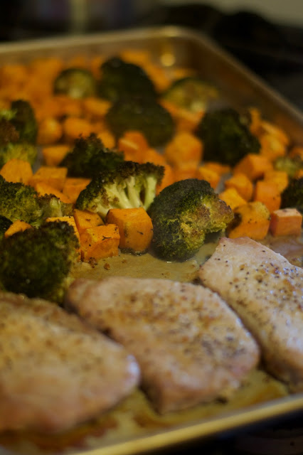 The fully cooked Easy Pork Chopped Sheet Pan Meal.
