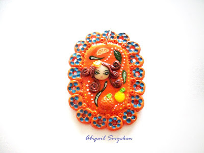 fetita fimo, fimo girl, orange