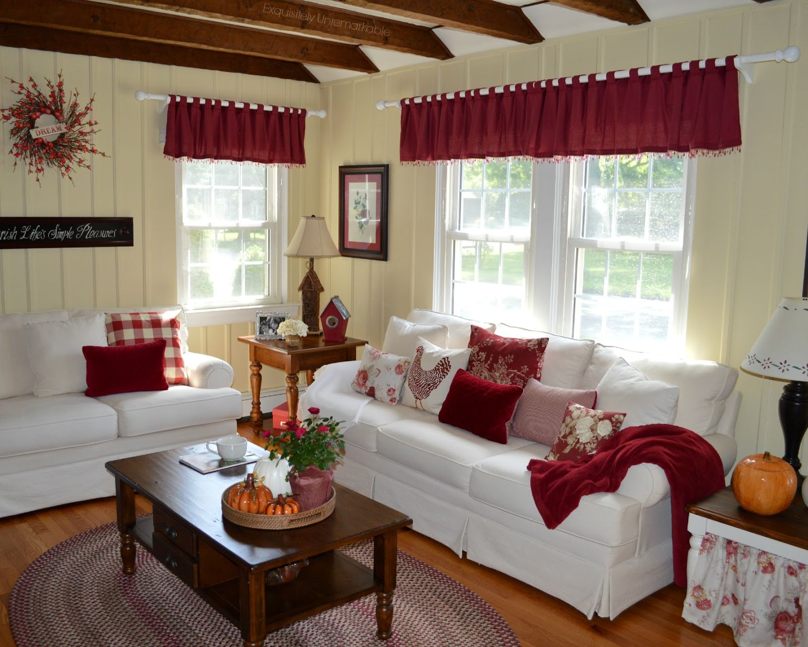 Red and White Rustic Living Room