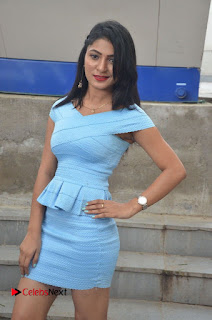 Actress Ankitha Jadhav Pictures in Blue Short Dress at Cottage Craft Mela 0017