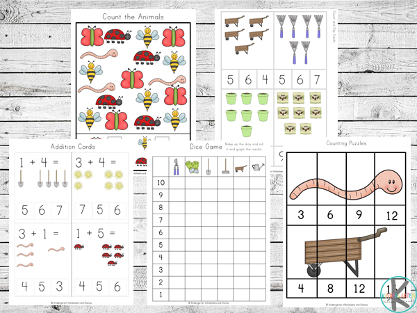 gardening math worksheets to practice counting, skip counting, graphing and more