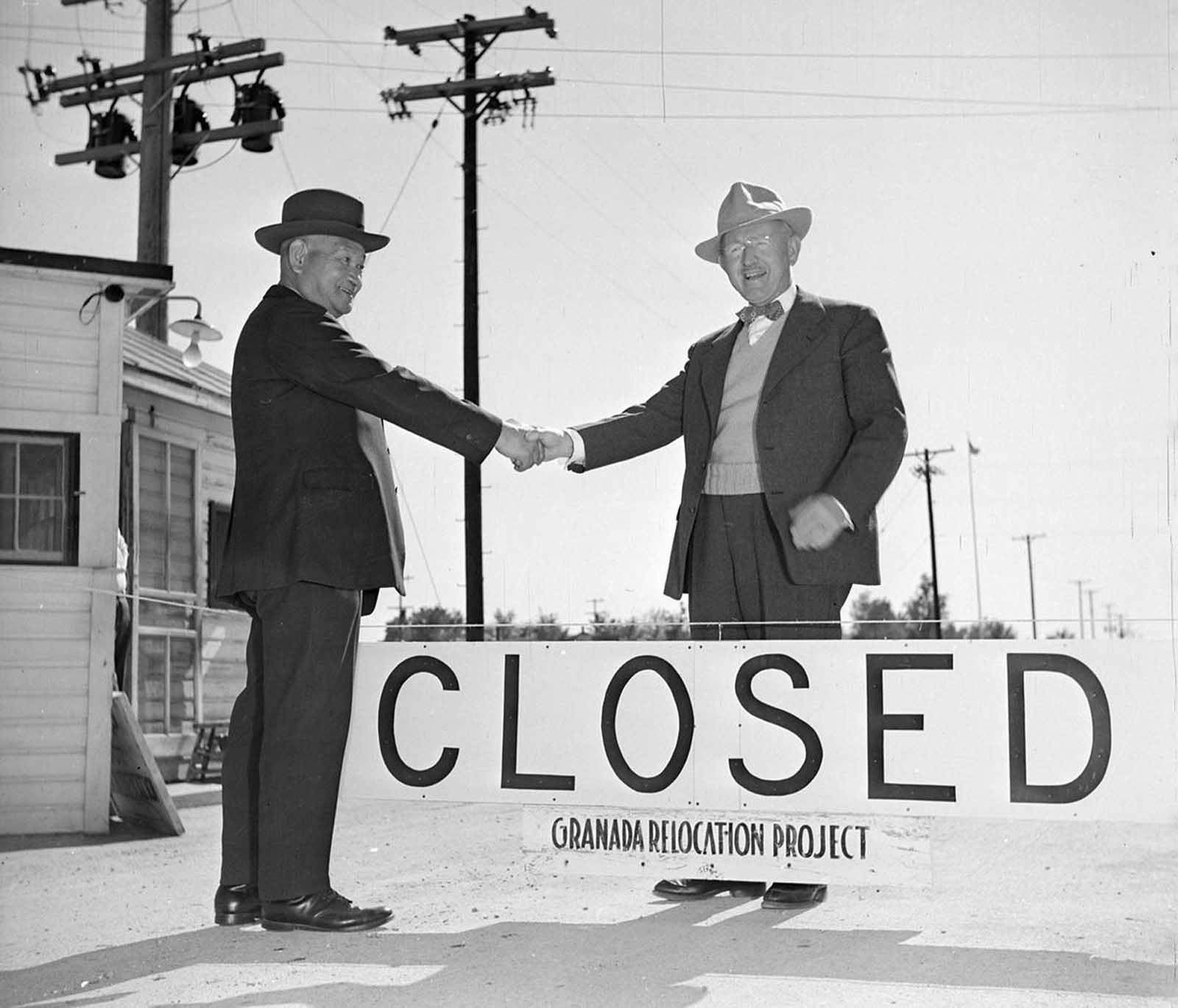 After the orders to relocate and detain persons of Japanese ancestry were rescinded, evacuees began returning home, and camps began to close. Here, Shuichi Yamamoto, the last evacuee to leave the Granada Relocation Center, in Amache, Colorado, says