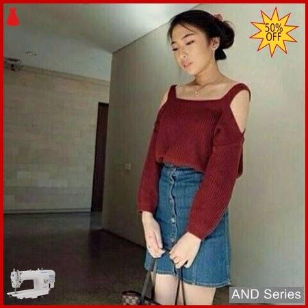 AND120 Sweater Wanita Rajut Sabrina Merah Maroon BMGShop