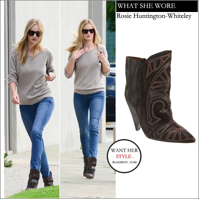 81b48348053 WHAT SHE WORE: Rosie Huntington-Whiteley in brown cowboy embroidered ...
