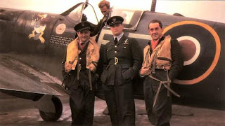 Polish Ace Pilots - Jan Zumbach on the left - Spitfire plane