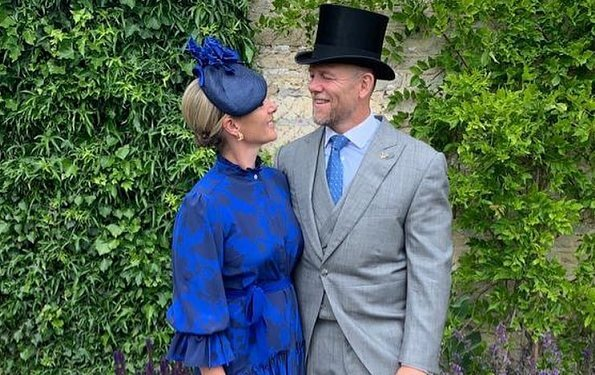 Zara Tindall wore a new deep blue shirt dress by British designer brand Beulah London,  a label beloved of Kate Middleton