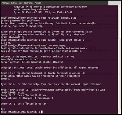 Resetear contraseña de MySQL en un servidor Linux (basado en Debian)