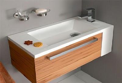 desain wastafel minimalis motif kayu