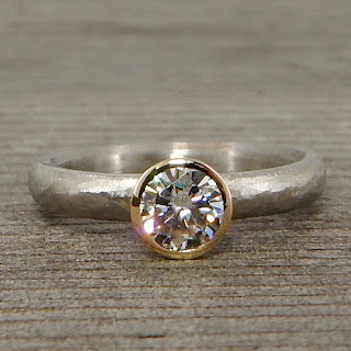 two tone moissanite ring