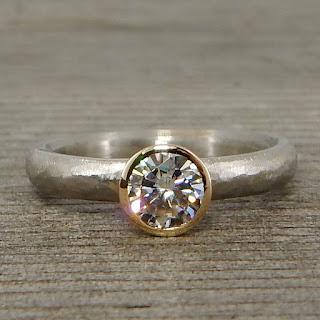 two tone moissanite ring