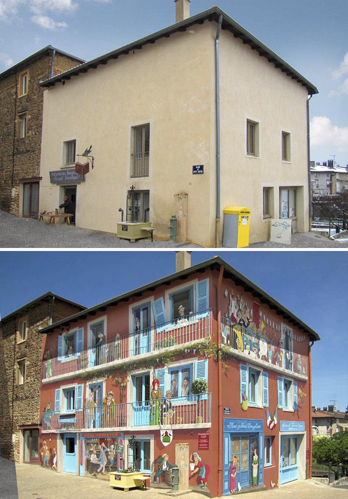 French Artist Transforms Boring City Walls Into Vibrant Scenes Full Of Life - Clochemerle