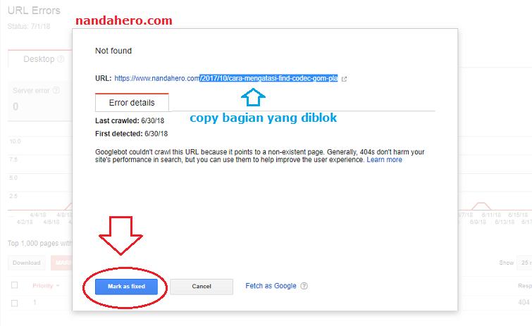 kali ini Nanda share postingan artikel untuk teman Tutorial Memperbaiki Crawl Errors Not Found/Server Error secara Permanen di Google Webmaster Tools