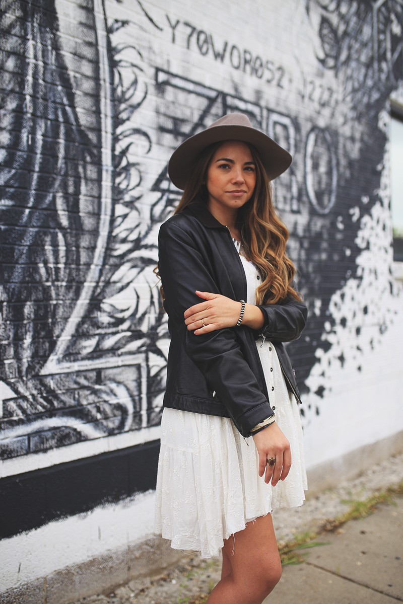 black leather jacket, edgy style, biker look