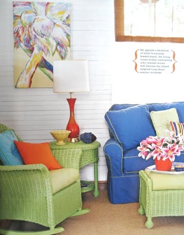 vibrant colors in living room