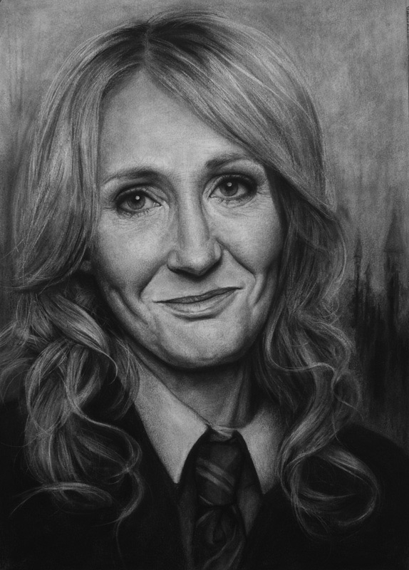 04-J-K-Rowling-Liu-Ling-Faces-of-Writers-in-Charcoal-Drawings-www-designstack-co