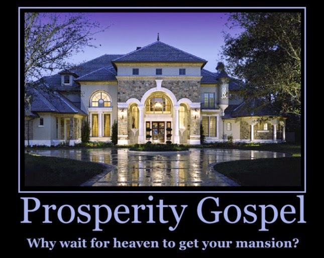 Funny prosperity gospel picture - why wait for heaven to get your mansion