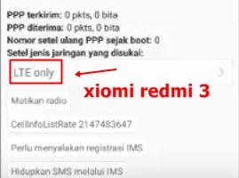 Cara mudah memunculkan jaringan 4G LTE xiomi redmi 3