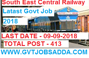 SOUTH EAST CENTRAL RAILWAY RECRUITMENT 2018 APPLY ONLINE FOR 413 POSTS