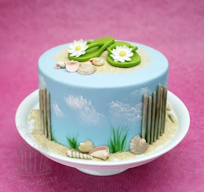Sommer Motivtorte beach cake mit Muscheln und Strand