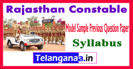 Rajasthan Constable Syllabus 2018 Model Sample Previous Question Paper