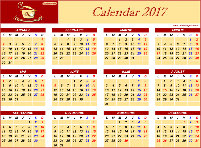 Calendar 2017 - sarbatori legale si religioase ~ ReteteAngela