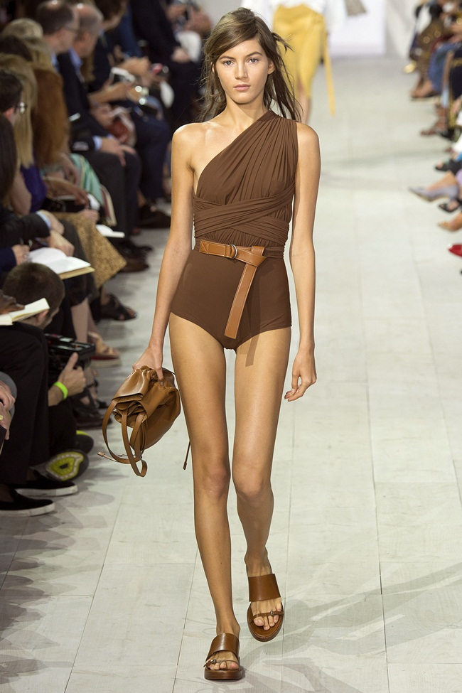 2016 SS Michael Kors One Shoulder Safari Swimsuit on Runway