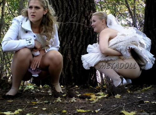 Voyeur secretly films women at a wedding going into the bushes to take a pee. Even the bride went for a pee. (Wedding Pissing Park 08)