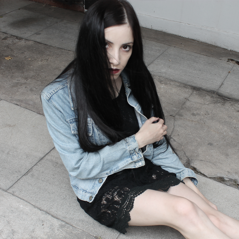outfit, ootd, lune, nocturne, denim, jacket, black, lace, dress
