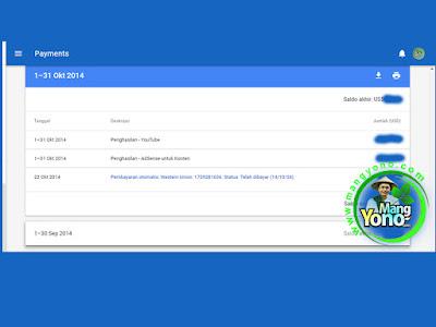 Pembayaran Google Adsense Bulan Oktober 2014.