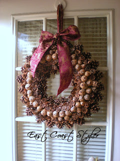 pinecone holiday door wreath ribbon