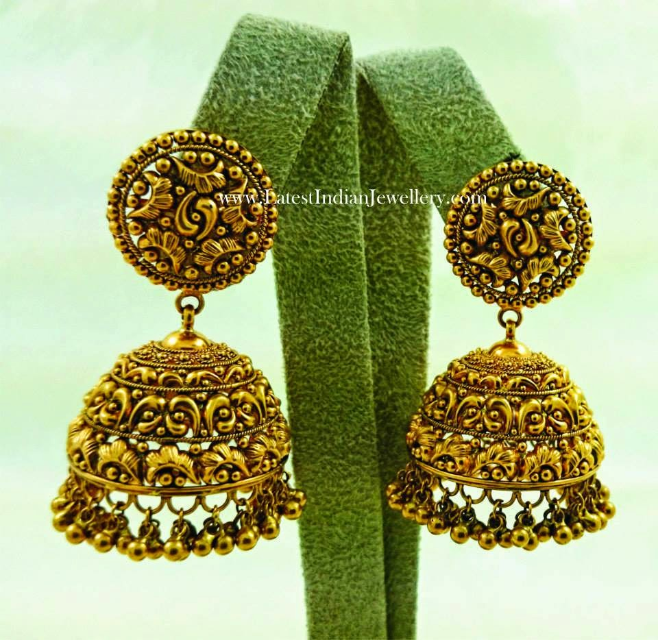 Intricate Antique Gold Jhumkis