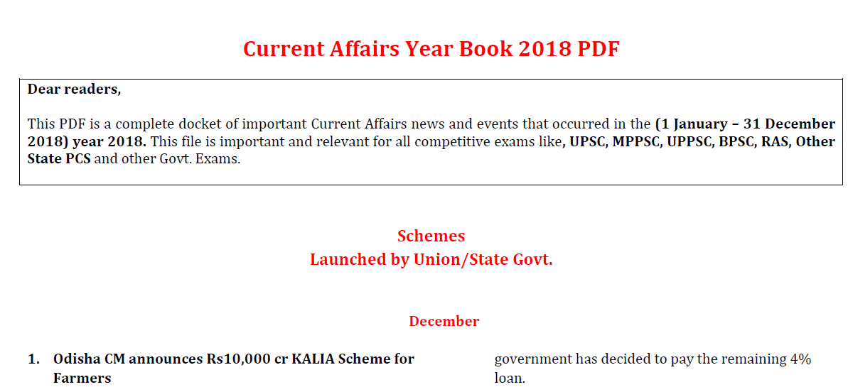 Current Affairs of 2018 - Yearbook pdf