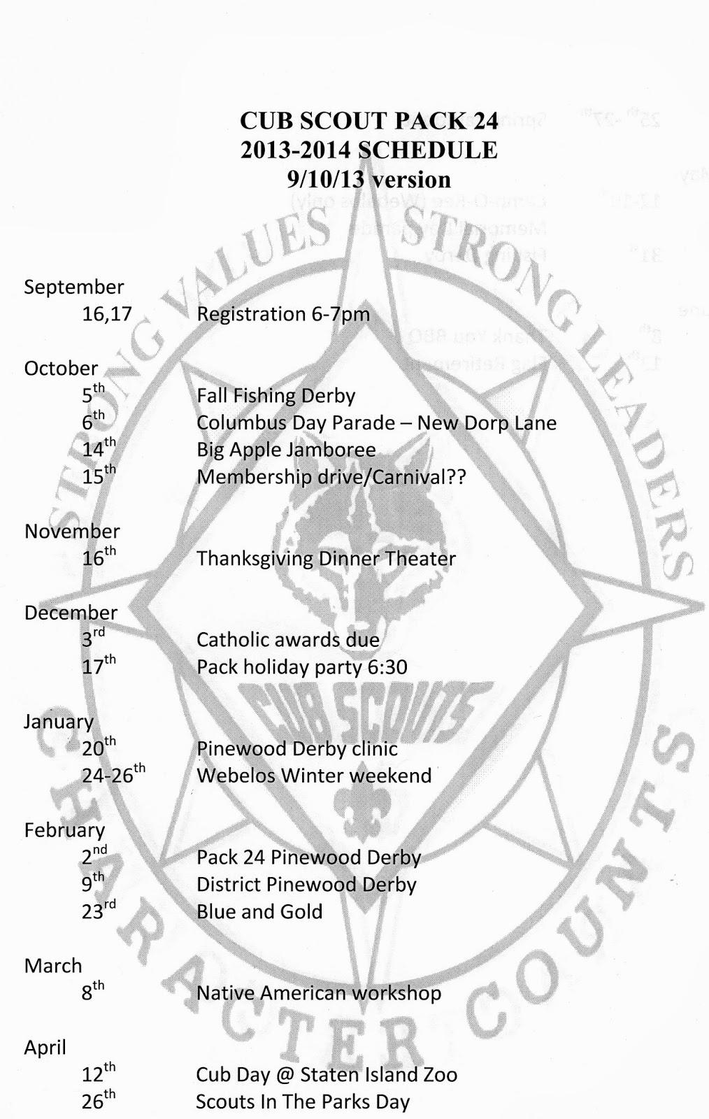 Cub Scout Pack 24: 2013-2014 Schedule