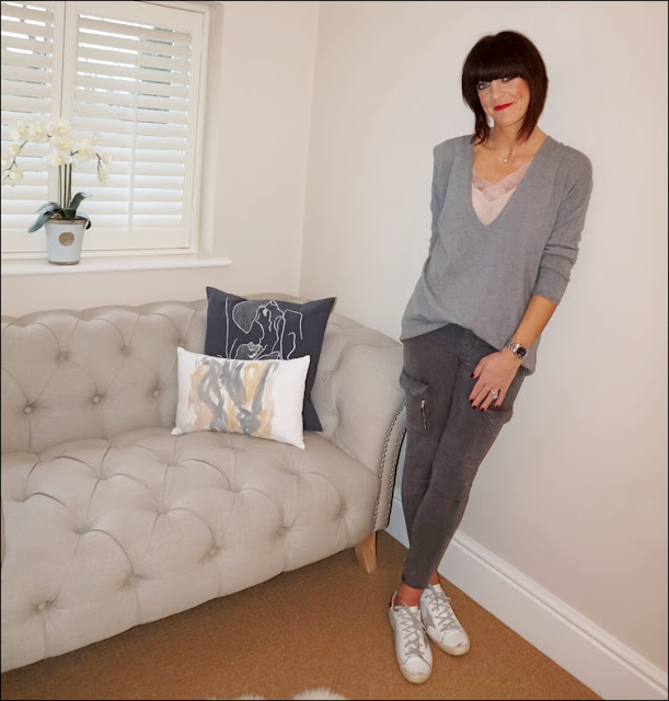 My Midlife Fashion, Golden Goose Superstar Trainers, Zara camisole top, zara military cargo trousers, hope fashion deep vee slouchy jumper