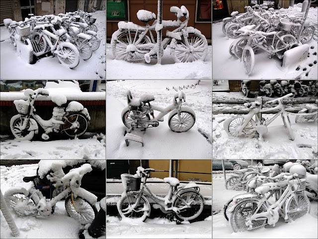 Bicycle art under the snow, Livorno