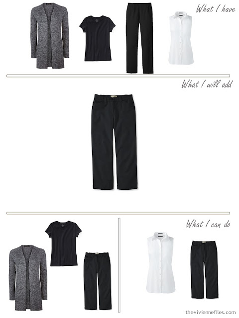 adding black cropped pants to a travel capsule wardrobe