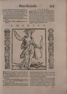 A printed page including a woodcut of an Allegorical America. A head and lizard are at her feet.