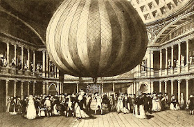Lunardi's balloon on display at the Pantheon from    Histoire des Ballons et des Aéronautes célèbres by Gaston Tissandier (1887)