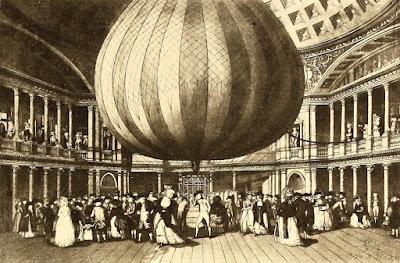 Lunardi's balloon on display at the Pantheon from    Histoire des Ballons et des Aéronautes célèbres by Gaston Tissandier (1887)