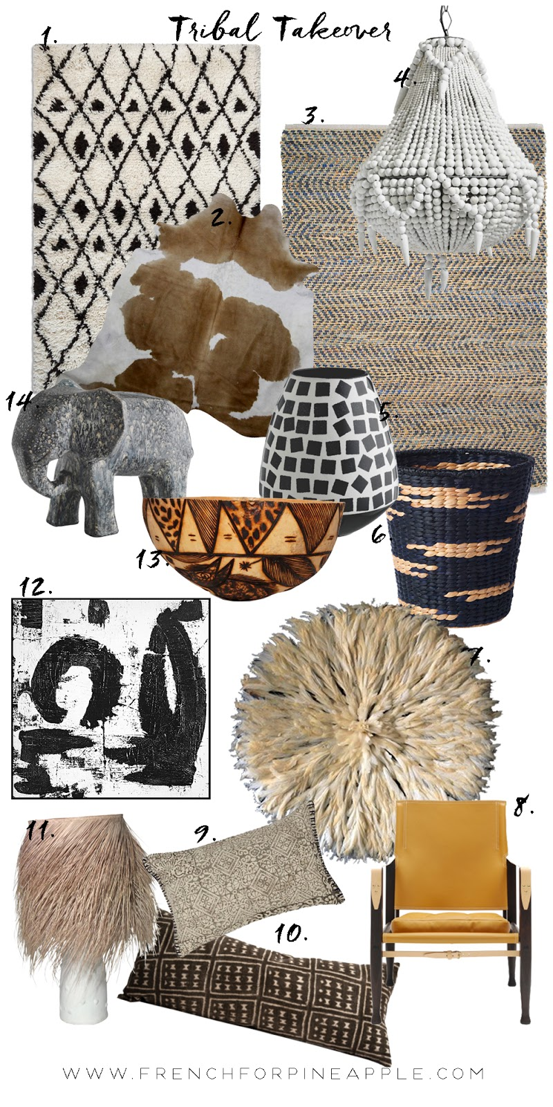 Get the Soft Tribal look the easy way by following some of my tips! Think muddy browns, warm tans and caramels and texture by the bucket-load. Use animal print, hides and sheepskins, and natural fibres like jute, mudcloth and leather. But remember, don't go overboard - we want a nod to the trend, not a themed room!