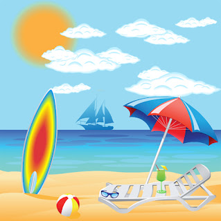Clipart image of a beach scene
