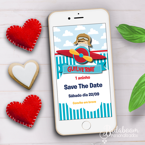 save the date, convite, personalizado, aviador, digital, whatsapp, badaboom