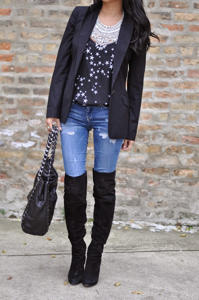 Black Blazer, Tibi Stars Cami and Denim